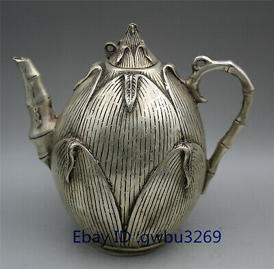 China collection Tibetan silver handwork bamboo shoots Teapot Qing Dynasty Mark
