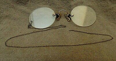 52f35faafce Antique PINCE NEZ Rimless Eyeglasses Spectacles G.F. SHUR-ON Gold Filled w  chain