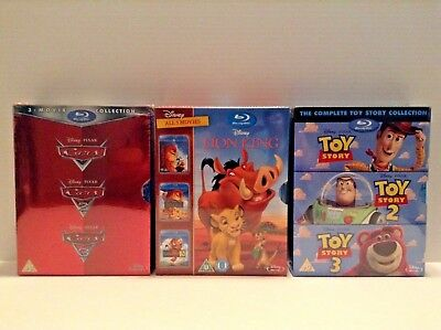 Toy Story Complete Collection + Cars 1-3 + The lion king trilogy (Blu-ray) *NEW*