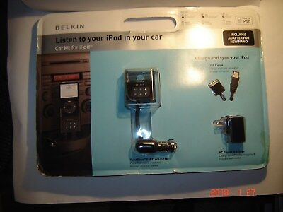 2006 Belkin Car Kit for iPod -TuneBase FM Transmitter, Adapters,AC Adapter-NEW!