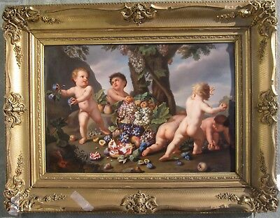 KPM porcelain plaque Cherubs / Cupids 1860 after Old Masters painting by Rubens