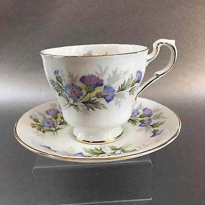 Paragon English Flowers Thistles Bone China Teacup & Saucer Set England Tea Cup