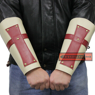Knights Templar Red Cross Crusaders Medieval Leather Armor Bracers Renaissance