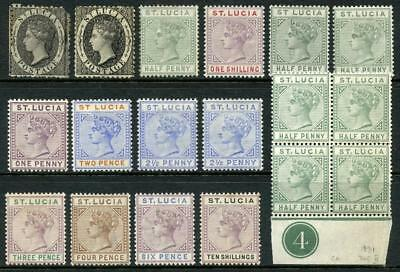 St Lucia QV Selection MM, MNH, inc 1/- SG42 etc. Total Cat approx £345