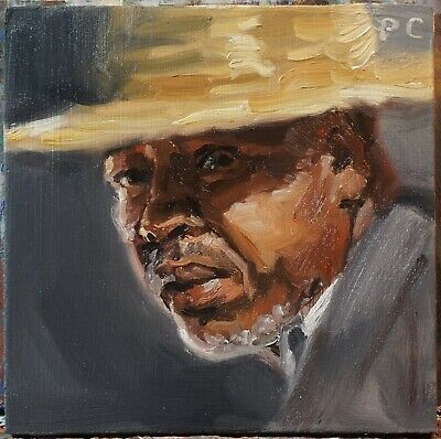 Peter Chorao Artist Original Oil TINY 5x5 Moroccan Man Figure Painting Artwork