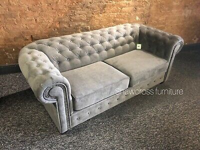 pretty nice f473d c6d1b FABRIC NEXT CHESTERFIELD Sofa Bed 2 Seater In Dark Grey Fabric