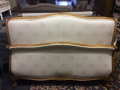 Vintage Antique French Double Bed Frame Upholstered in Kate Forman Kitty Fabric