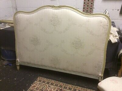 Vintage Antique French Double Bed Frame Upholstered in Kate Forman Octavia