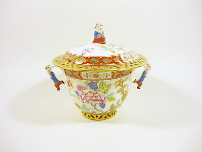 "Herend, Chinese Shanghai (Sh) Mandarin Lidded Soup Cup 5"",Handpainted Porcelain!"