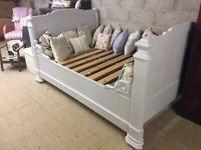 Vintage Antique 4 Foot French Bateau Bed Painted Grey
