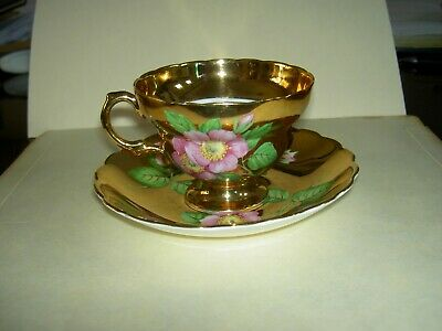 Rosina England Bone China Solid All Heavy Gold Pink WILD ROSE Cup Saucer #5195R
