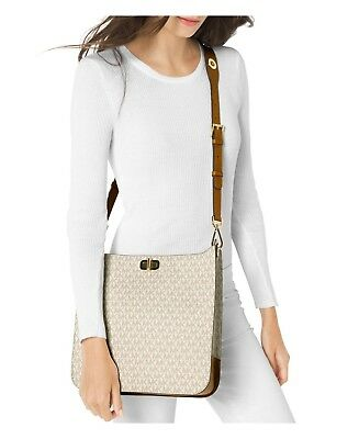 ad3867a7f740 NWT MICHAEL Kors Sullivan Large North South Messenger VANILLA SIGNATURE bag  $348