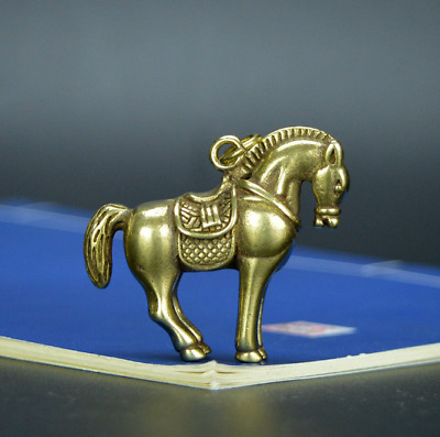 Chinese old collection handwork bronze Zodiac horse Pendants