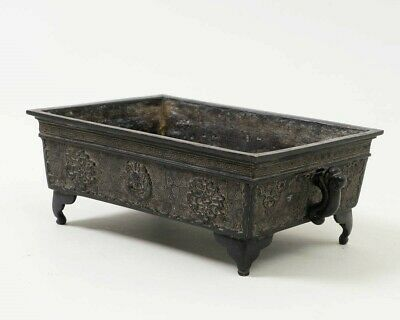 "Antique Signed Chinese Bronze Rectangular Footed Planter Box w. Dragons 9.5""W"