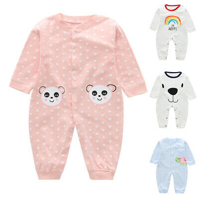 Infant Baby Jumpsuit Sleeve Boy Girls Kids Romper Rainbow Clothes Long Round