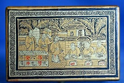 Unusual Size Antique Chinese Export Black Lacquer Hand Painted Gold Scene Box