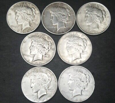 Lot of 7 Peace Silver Dollars: 1922-P,1922-D,1922-S,1923-P, 1925-S,1926-D,1926-S