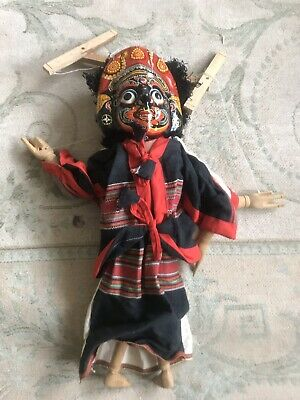 "Vintage Larger 16"" Two Faced Marionette String Puppet from Nepal -Nice! (1)"
