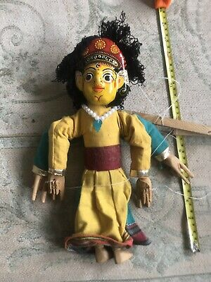 Vintage Two Faced Marionette String Puppet from Nepal -Nice!