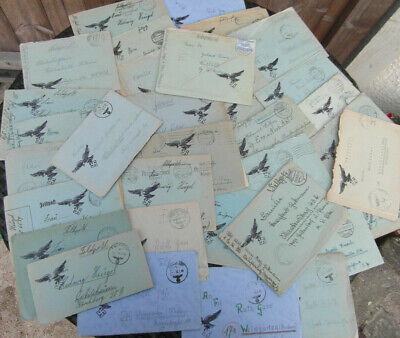 WW2 German stamps 34 NAZI SWASTIKA LUFTWAFFE FELDPOST WITH CONTENTS