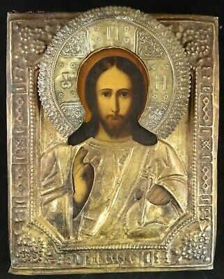 Antique Russian Hand Painted Icon, Depiction of Christ. 19th c. w/ metal Riza