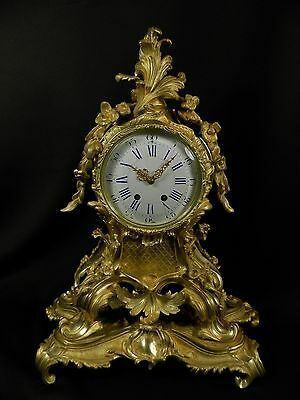 Antique French Gilt Bronze Rococo Clock on support ca 1880 H.Luppens Paris