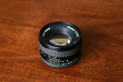 Contax Yashica Zeiss Planar T 1.7 50mm lens, C/Y, with EF mount, declicked