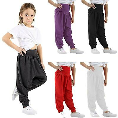 Girls Boys Kids Ali Baba Baggy Trousers Pants Harem Dance Stretch Childrens