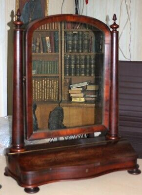 A Large Antique Victorian Mahogany Toilet Mirror - FREE Shipping [PL4992]