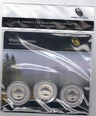 """BU """"Rare"""" 2013 White Mountain PDS ATB 3-coin set National Forest /Parks US Mint"""