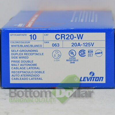 Leviton CR20-W 10Pk 20A-125V White Self Grounding Duplex Receptacle Side Wired
