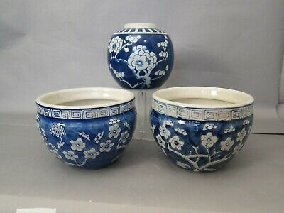 One  Antique Chinese Porcelain Blue And White Prunus Jar And Two Large Bowl's