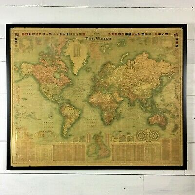 Huge Vintage Map Framed 1908 Bacon's New Chart Of The World Mercator's Projec...