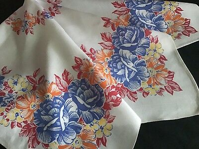 Lovely Vintage Printed Cotton Tablecloth ~ Bright Florals