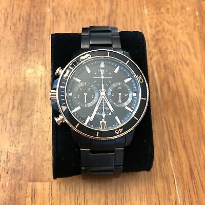 Bulova Marine Star mens watch BlackRose gold 98B302