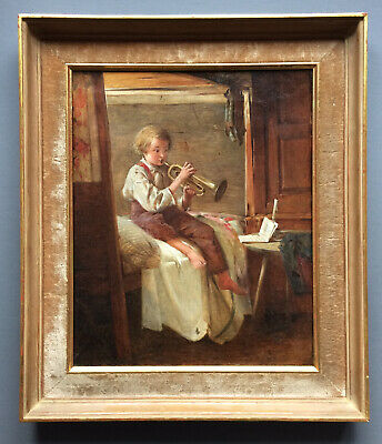 ROGER HENRY (19th C) SIGNED ANTIQUE FRENCH OIL BOY LEARNING TO PLAY TRUMPET