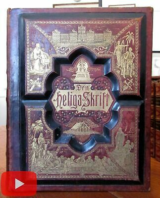 Family Bible Gustave Dore 1889 huge leather book profusely illustrated color