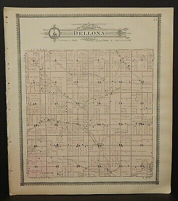 Wisconsin Sauk County Map Dellona Township 1906 J25#38