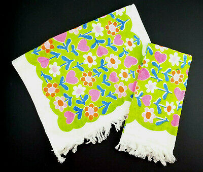 53008953c2 2 Vintage Flower Power Groovy Green/Pink/Blue Fringed Bath Hand Dish Towel