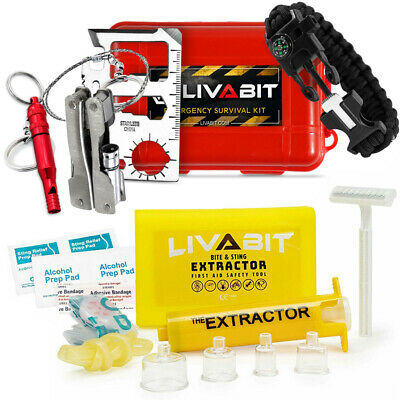 LIVABIT Dual Pack First Response Safety Tool Emergency Kit  CPR Shield & SOS KIT