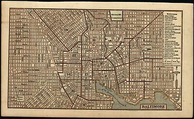 Baltimore Maryland city plan c.1855 antique cerographic engraved map