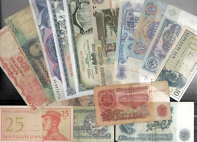 Lot 15 Different Banknotes L@@K from Countries : RUSSIA, INDONESIA ETC.  {No:12}