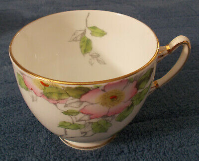 Adderley Tea Cup, Pink and Green Floral on White Bone China, made in England