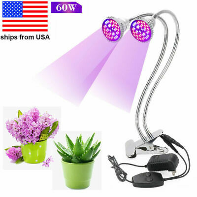 60W Full Spectrum LED Grow Light Bulb Dual Head Lamp For Indoor Plant Hydroponic