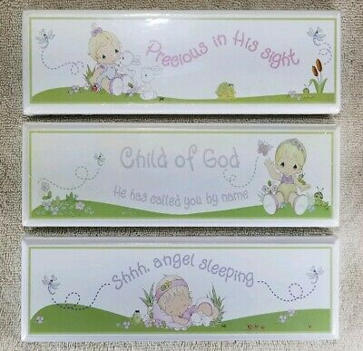 Precious Moments Decor Wooden Plaque Wall Table Top Religious Baby Child Room