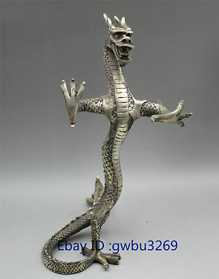 Chinese collection Tibetan silver handwork carved  Dragon Statue
