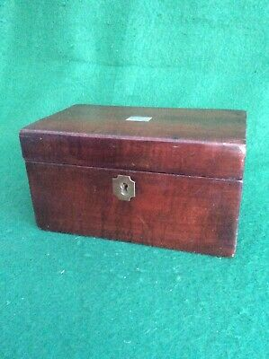 Antique veneered two-compartment tea caddy with silver metal mounts