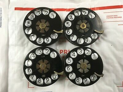 western electric telephone #5H BRASS dial LOT of (4) w/150A porcelain plates