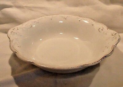 English WH Grindley Vegetable Bowl White Embossed & Scalloped Details 1920s-30s