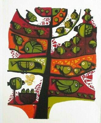 David Weidman Bird Tree Signed Limited Edition Serigraph Circa 1965 26 x 20""